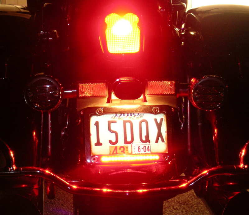 RedLED 1157 Bulb & Red LED Step Lights with LED License Plate Frame